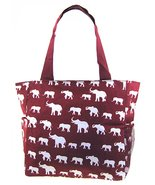 Elephant Print Tote Bag Purse (Burgundy Red) - $17.73