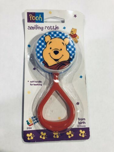 Primary image for Vtg 1995 Winnie the Pooh Bear First Years Plastic Baby Rattle Toy New Old Stock