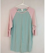 Lularoe 3/4 Slv Simply Comfortable Aqua Blue With Pink Stripes & Sleeves... - $14.01