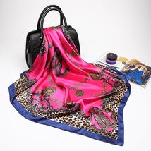 Fashion Women Scarf Luxury Brand Pink Leopard Hijab Silky Satin Shawl Scarfs Fou image 6