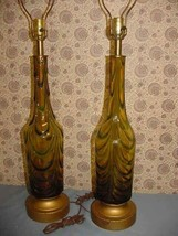 Pair Vintage Murano Italy Glass Amber Blue Green Archimede Seguso Table Lamp 3-W - $1,250.00