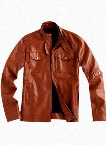 Men Slim Lambskin Leather Coat Motorcycle Biker Overcoat A657