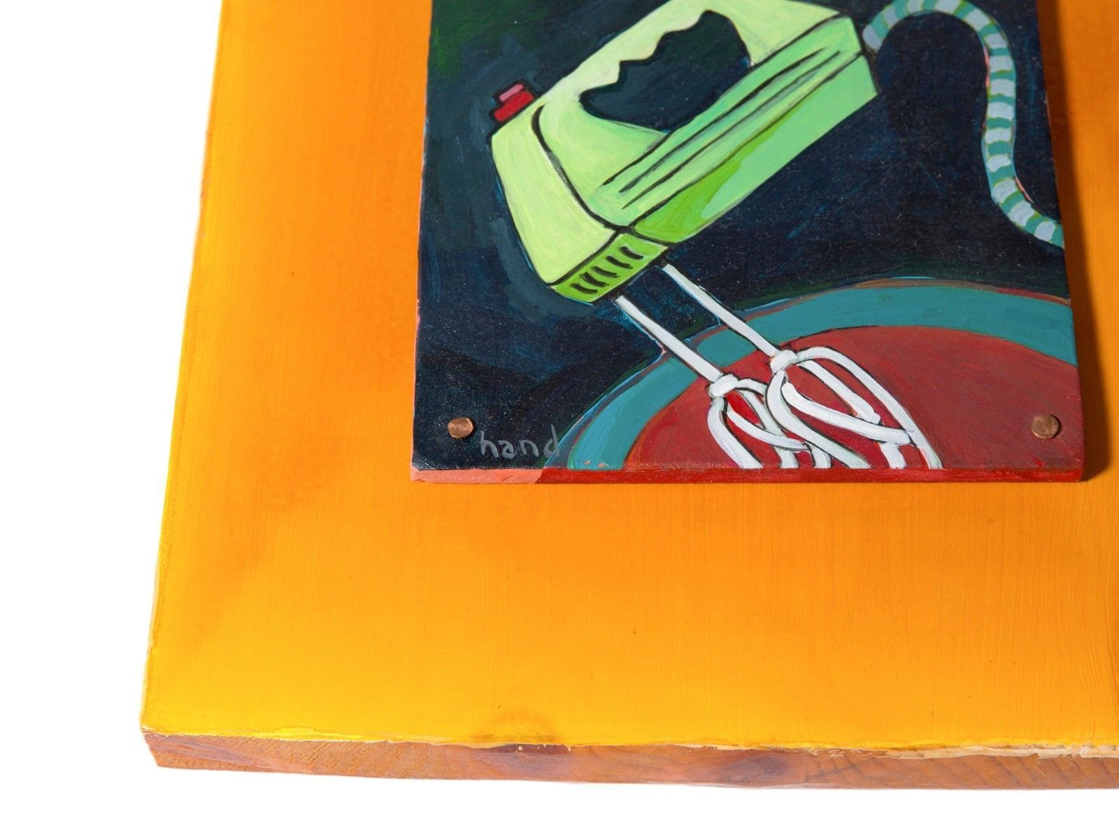 FREE SHIP: Kitchen Art Painting on Wood - Colorful Painted Mixer by Jeff Hand