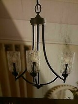 "3 Light Aged Bronze Glass Chandelier 22"" Dining fixture Missing One Shade - $80.50"