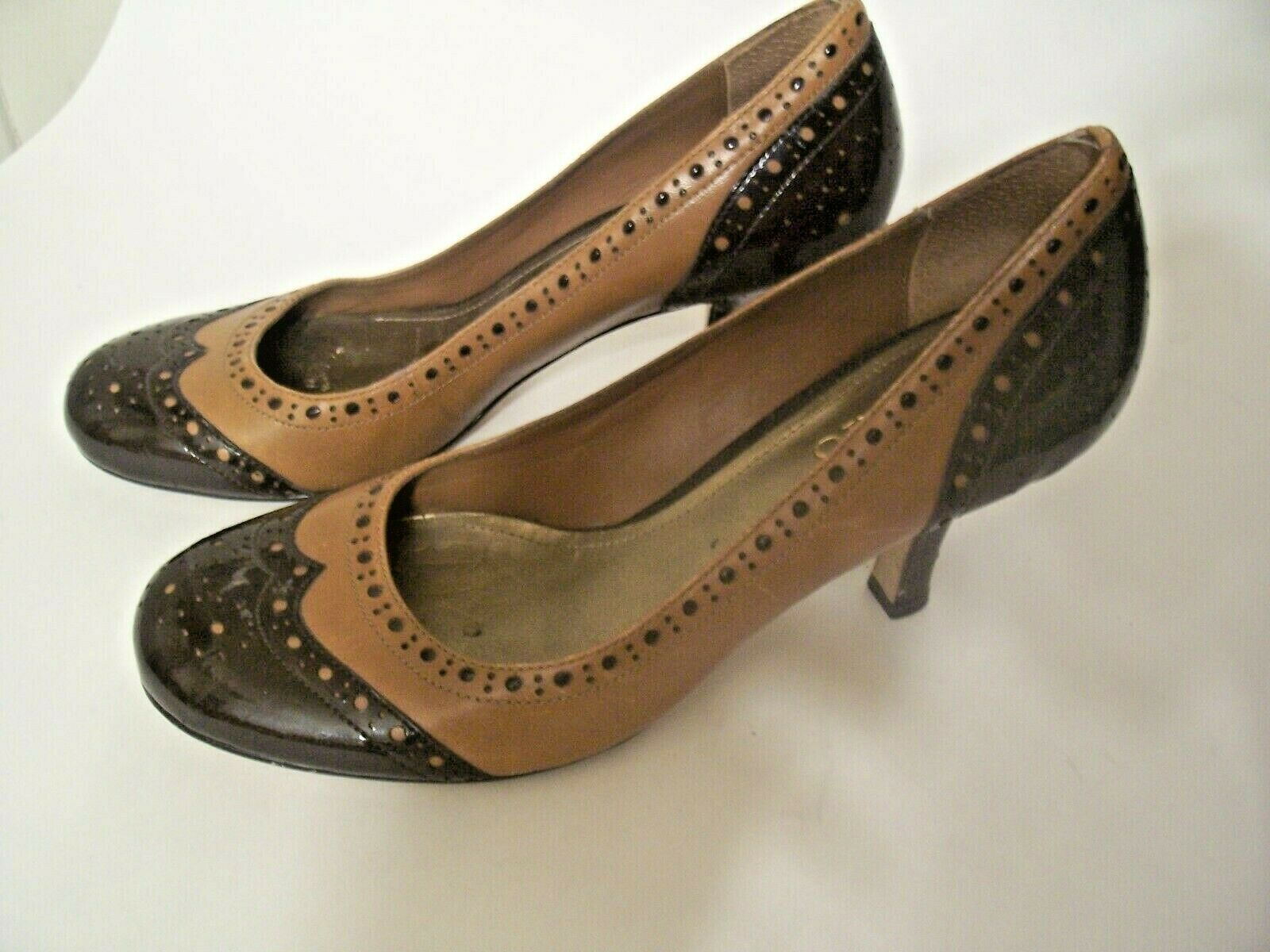 Primary image for FRANCO SARTO Seesaw Oxford Wingtip Leather Shoes Brown / Tan Size  7.5M  Womens