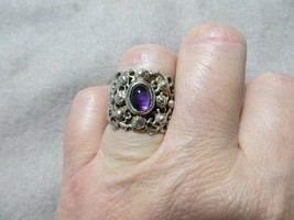 Antique Victorian Open Cut Filigree Ornate Band ring w/Amethyst Cabochon s.6.75  - $89.99