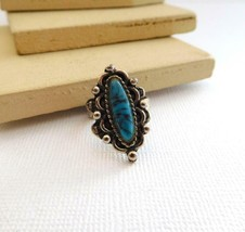 Vintage Faux Turquoise Silver Tone Southwestern Style Ring Adjustable Si... - $18.69