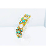Antique Green Turquoise and Gold Bracelet Austro-Hungarian with Box - $811.33