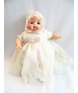 1960s Baby Doll in Christening Dress Vinyl with Cloth Body Thumbelina Like   - $23.00