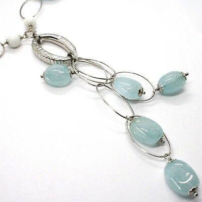 Necklace Silver 925, Spheres Agate White, Aquamarine Drop, Pendant, Ovals image 3