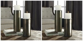 Four Urban Modern Pillar Aged Blue Green Bronze Iridescent Glass Candle Holders - $418.00