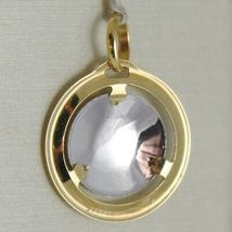 PENDANT MEDAL YELLOW GOLD WHITE 750 18K, MADONNA AND CHRIST, Mary jane and Jesus image 3