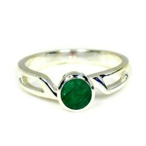 Natural Emerald Oval Gemstone Sterling Silver Ring For Women & Girls  Si... - £6.97 GBP