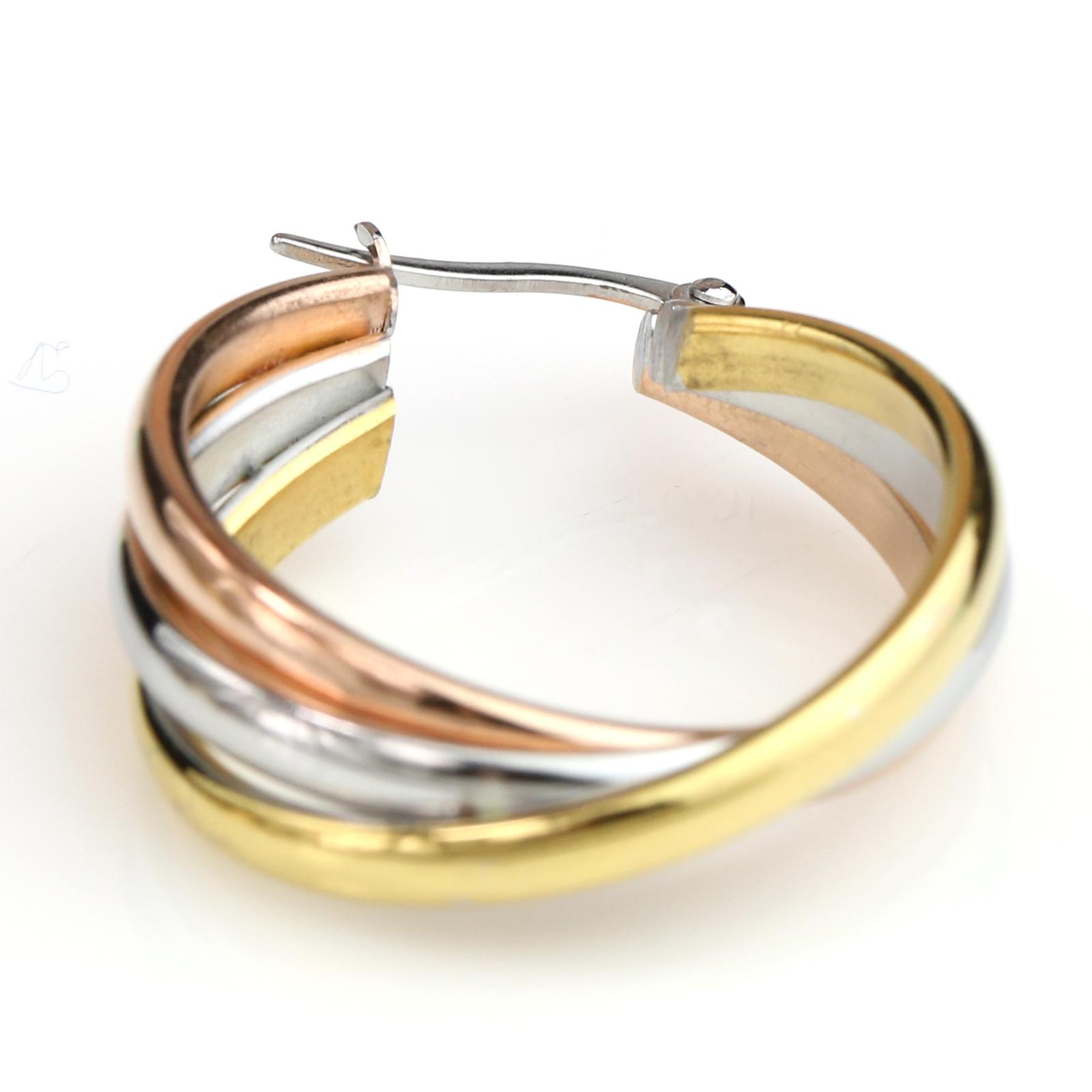 Simple Twisted Tri-Color Silver, Gold & Rose Tone Hoop Earrings- United Elegance