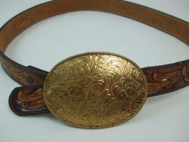 Montana Silversmiths Jewlers Bronze Buckle w Otley's Hand Tooled Leather... - $59.35