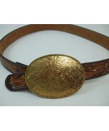 Montana Silversmiths Jewlers Bronze Buckle w Otley's Hand Tooled Leather... - $53.96