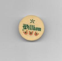 Vintage Willkom Round Refrigerator Magnet Memo Holder - $4.95