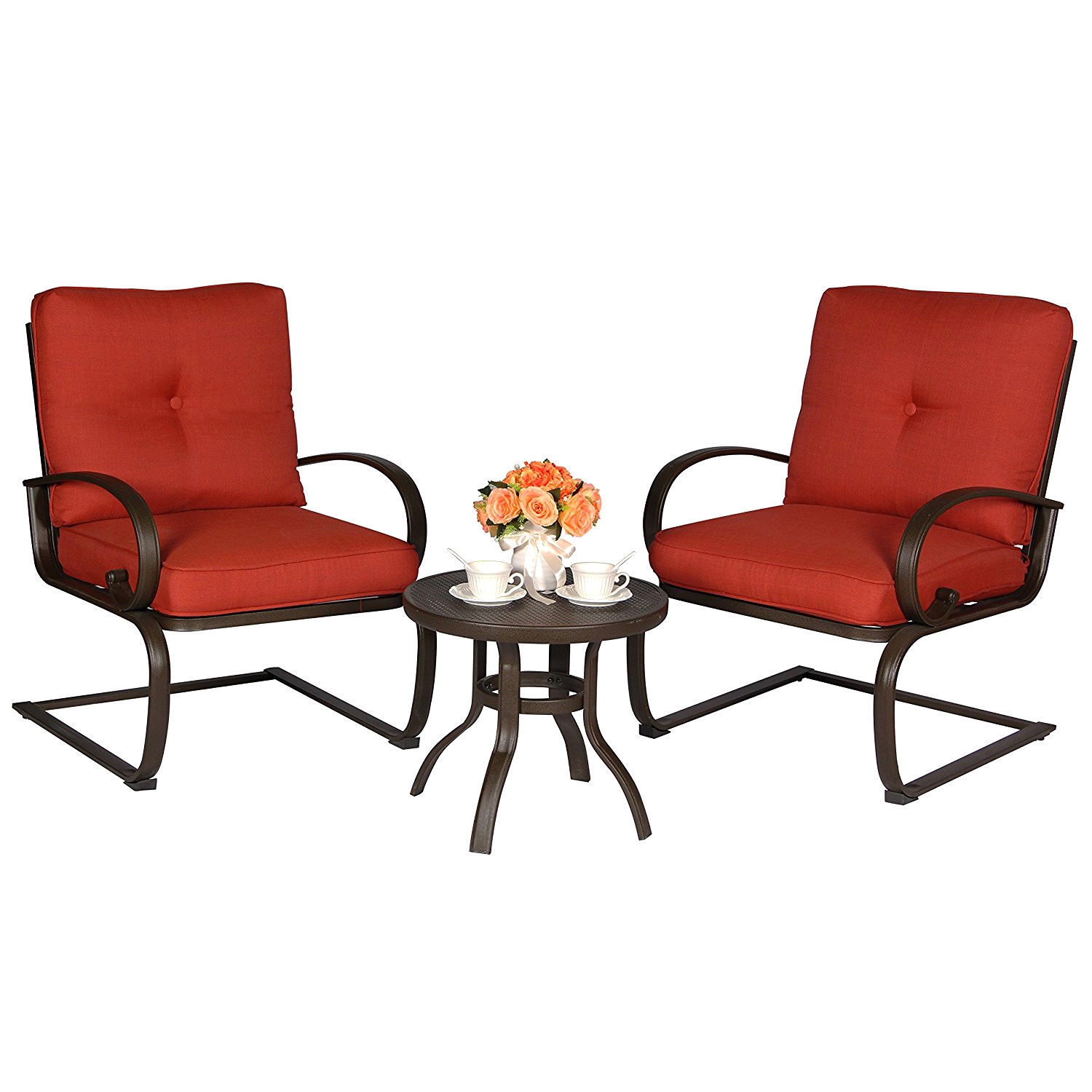 5 PC Cushion Outdoor Furniture Garden Patio Wrought Iron Dining Conversation Set