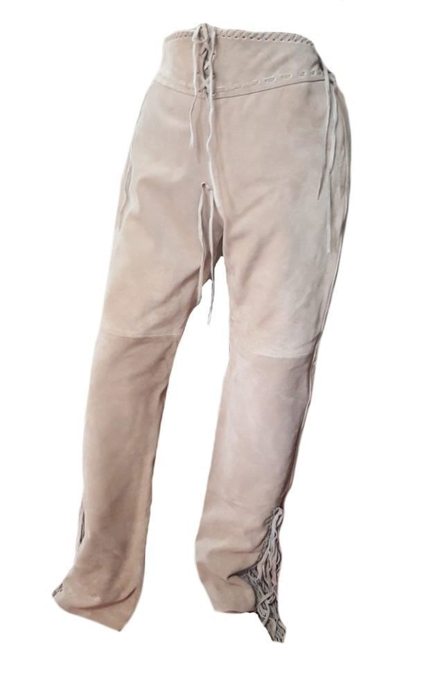Men's New Native American Beige Buckskin Buffalo Suede Leather Fringes Pants WP5