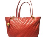 Vintage CHANEL red caviarskin v stitch, chevron style chain shoulder tote bag wi