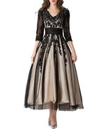 Women's Lace Applique Tea-length Mother of Bride Dresses Prom Gowns Part... - $118.00
