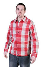 Tavik Uomo Rosso Grigio Checker Slacker Lumberjack Flanella con Bottoni Up Nwt image 1
