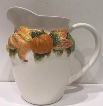 JC Penney Alacarte Holiday Cocktail Pitcher Embossed Corn Pumpkin Gourds - £23.09 GBP