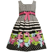 Bonnie Jean Little Girl 2T-6X Black/white Gradient Stripe Butterfly Border Dress