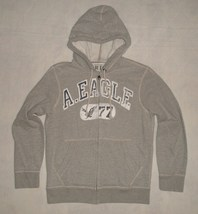 NWT American Eagle Vintage Fit Gray Graphic Logo Hoodie Sweatshirt Mens ... - $39.99