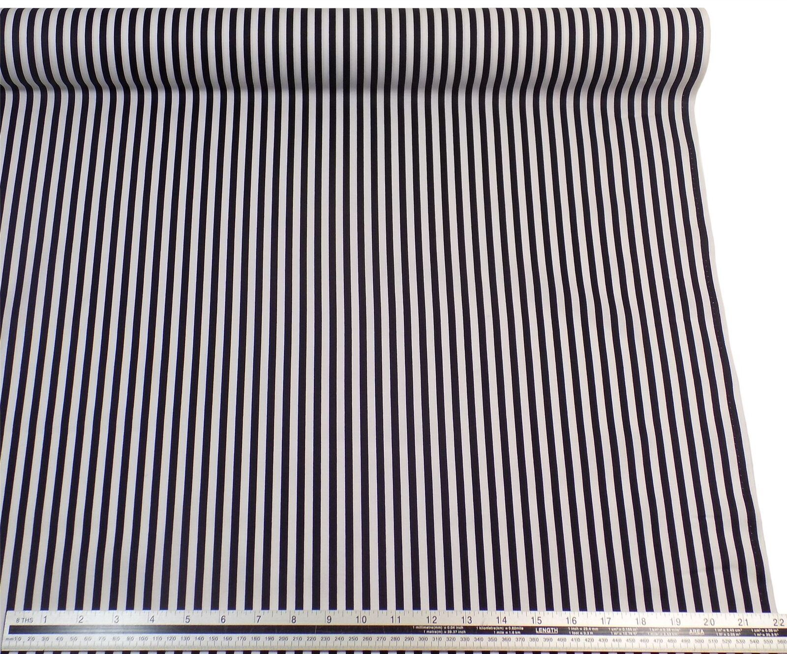 Black White Stripe 100% Cotton High Quality Fabric Material 3 Sizes