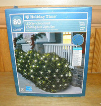 Indoor/Outdoor Holiday Christmas Lights 80 White LED Chasing Net Lights ... - $8.78
