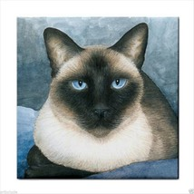 Ceramic Tile Coaster from art painting Siamese Cat 547 - $13.99