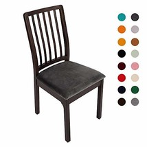 Soft Velvet Dining Room Chair Seat Covers, Stretch Spandex Fitted Dining Chairs
