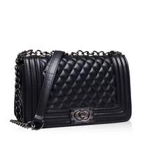 Celebrity Fashion Street Style Quilted Boy Boxy Bag w Chain Shoulder Str... - $27.90