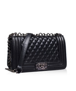 Celebrity Fashion Street Style Quilted Boy Boxy Bag w Chain Shoulder Str... - $49.99