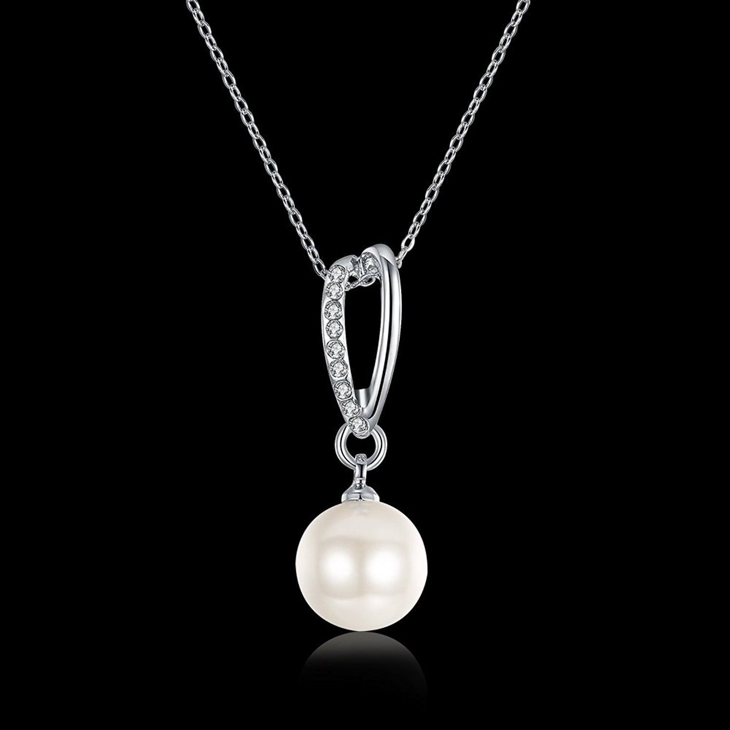 Shally Women's Platinum Plated Pearl Necklace Imitation Pearl And Crystal