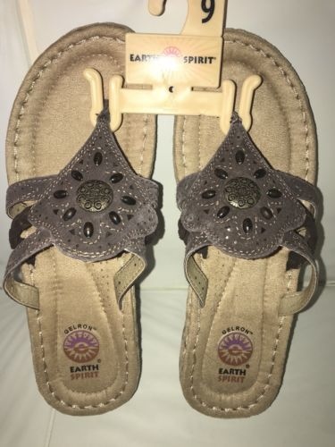 6c8d8d5ed 12. 12. Previous. NEW Earth Spirit Women s Aimi Brown Slip on Flip Flop  Thong Sandals Bead SIze 9