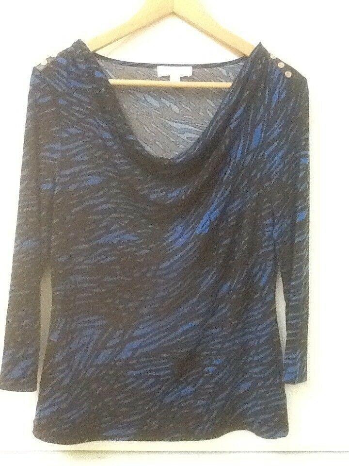 Calvin Klein Top Drape Neck 3/4 Sleeve Blue Black Print S Small