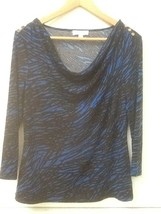 Calvin Klein Top Drape Neck 3/4 Sleeve Blue Black Print S Small - $14.95