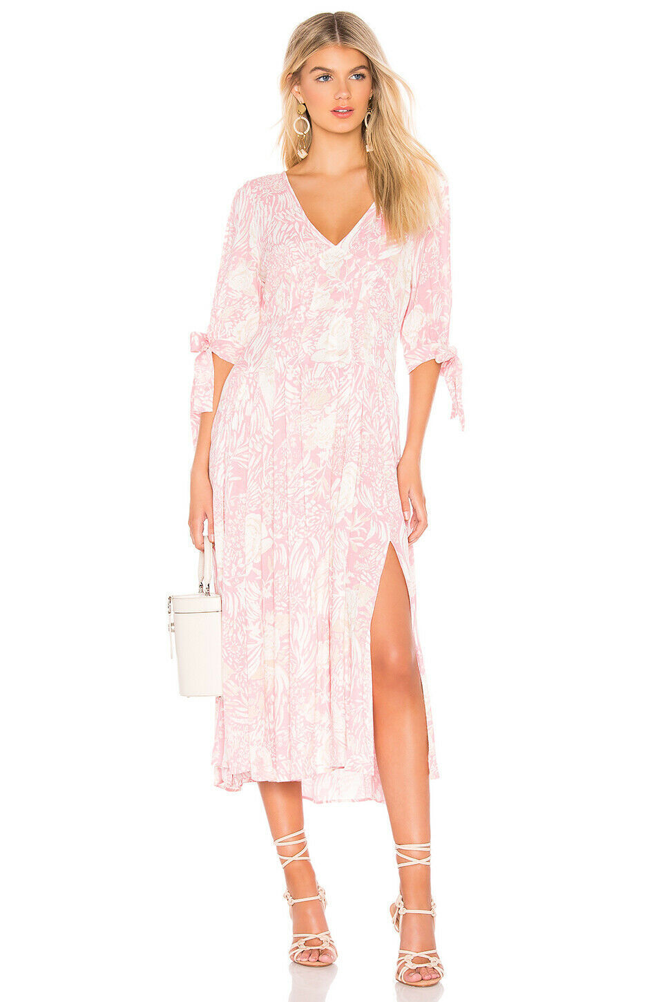 Free People Forever Always Midi Dress Pink Combo