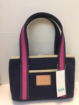 The Sak Gina Handbag Navy Blue Pink Tan With Tags Zippered Inside Pockets - $18.69