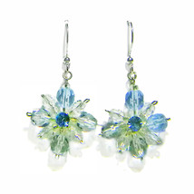 "Lt Blue Faceted Glass Beaded 4pt Star Sterling Silver 1"" Drop Earrings - $24.99"
