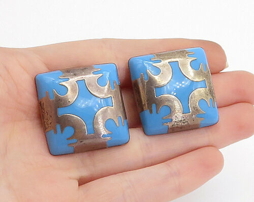 Primary image for MEXICO 925 Silver - Vintage Blue Turquoise Pattern Non Pierce Earrings - E9090