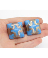 MEXICO 925 Silver - Vintage Blue Turquoise Pattern Non Pierce Earrings -... - $75.83