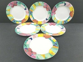 6 Mikasa Exotic Garden Bread Butter Plates Set Vintage Fruit Floral CAK2... - $46.40