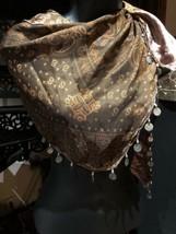 Vintage Stile Vittoriano Antico Marrone Seta Triangolo Coined Sciarpa Sc... - $35.66
