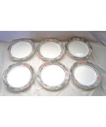 "6 Corelle Silk and Roses 7 1/4"" Salad/Dessert/Bread Plates Black Pink Fl... - $12.99"
