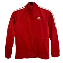 Adidas Youth Three Stripe Red White Full Zip Up Track Jacket Sz M (10/12) - $24.75