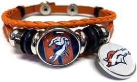 NFL Denver Broncos Orange Leather Bracelet W/2 Stripe Logo Snap Jewelry ... - $22.95