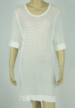 Calvin Klein White Knit Top Short Sleeve Open Knit Longer Length Size M ... - $18.80